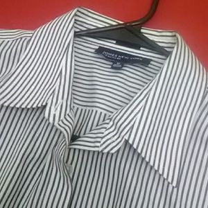 Jones New York Signature Striped B&W Shirt M EUC